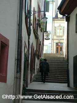 An old medieval alley in the old town in Basel Switzerland