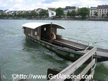 The Faehri or Ferry on the Rhine river in Basel Switzerland