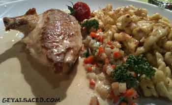 chicken cooked in a creamy sauce with spaetzle