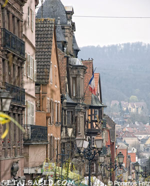 houses on a street in saverne in alsace