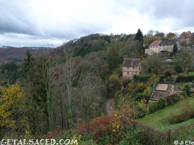 Mountains and scenery in small village La Petite Pierre in Alsace