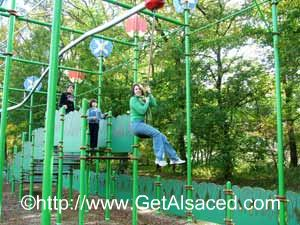 The curvy twisty zip line ride at Bioscope amusement park in Alsace