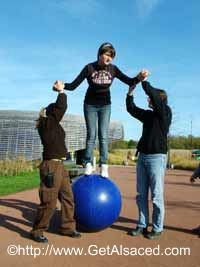 Fun balance games at Bioscope amusement park in Alsace