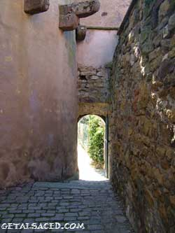 medieval wall gate in Alsace wine road village