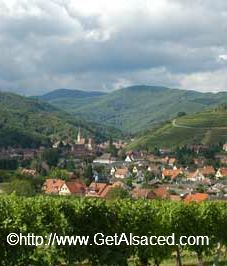 village of andlau in alsace tucked in between the foothills of the Vosges mountains