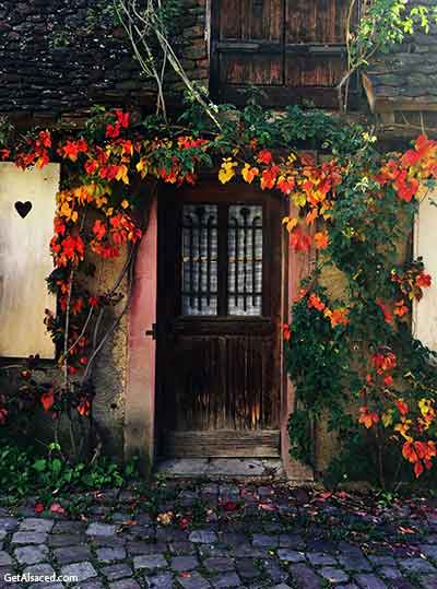 old door on an old house in a small village in alsace france