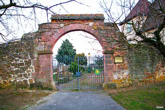 old gates in the village of Mittelwihr in Alsace France