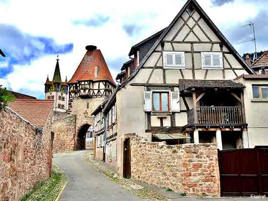 medieval walls and houses in the Alsace village of Chatenois in France