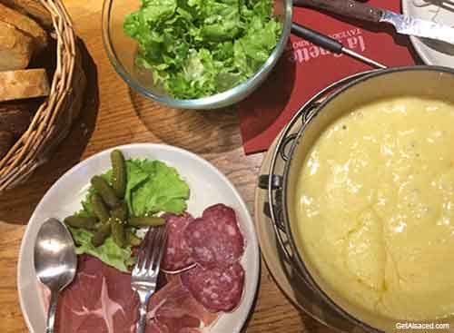 alsace food - cheese and sausage