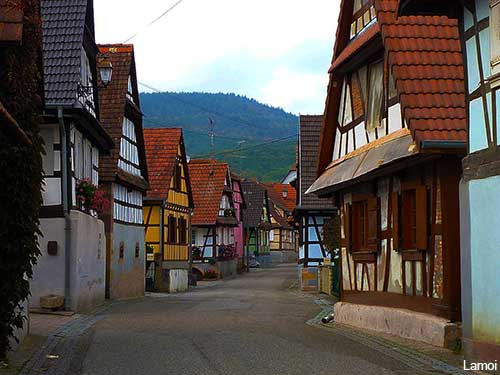 Alsace village houses in Cleebourg in France