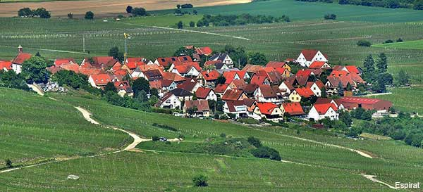 view of the tiny village of Dieffenthal in Alsace France