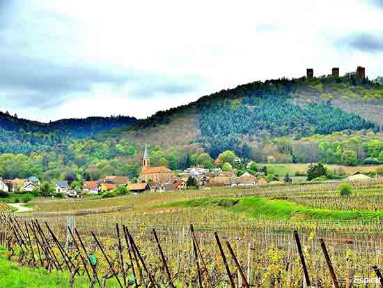 Husseren les Chateaux a small village on the Alsace wine road in France
