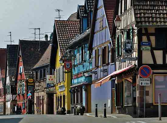 village houses in Kintzheim on the Alsace wine road in France