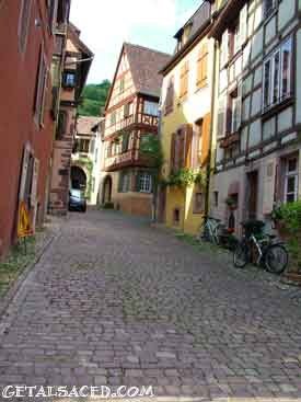 Medieval village in Alsace on the wine road