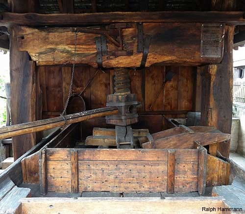 An old wine press in the small village of Mittelbergheim in Alsace France