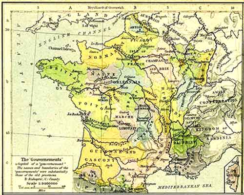 old French map including Alsace region