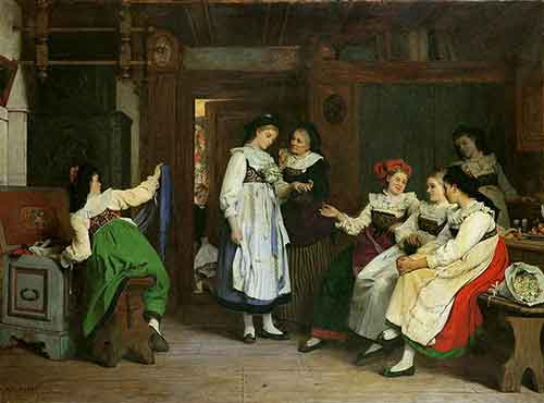 painting of people in traditional alsatian costumes