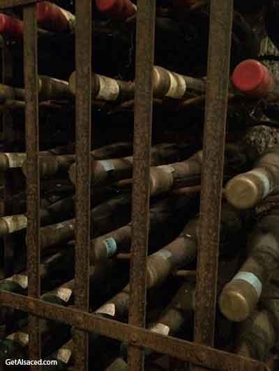 old wine bottles in alsace france