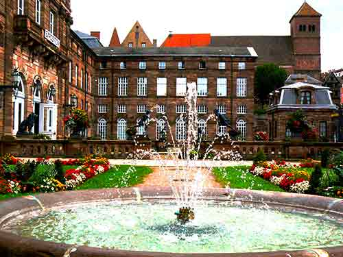 fountain at a chateau in a small town in alsace france