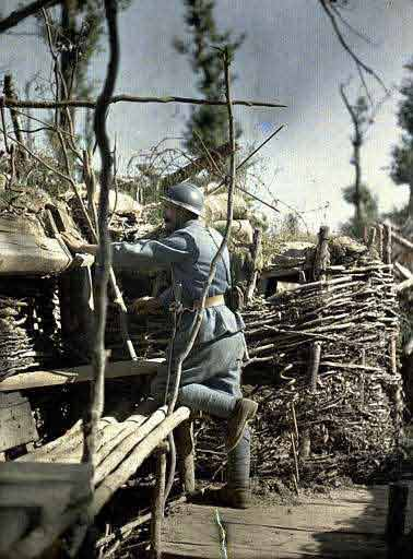 soldier in world war one trenches in alsace france
