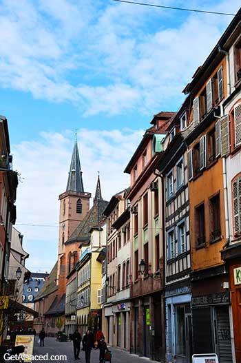 street in strasbourg in alsace in france