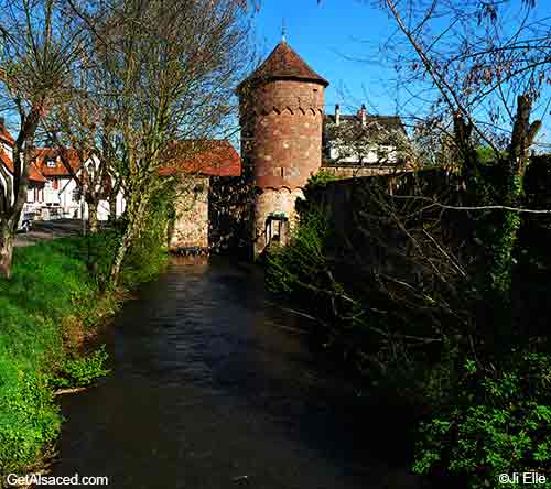 medieval tower in small town in alsace france
