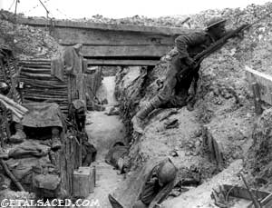 world war one trench with soldier