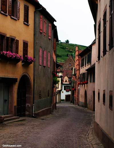 alsace village street in france