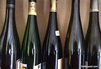 alsace wine bottles in france