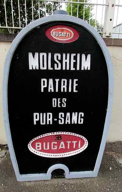 bugatti sign in the alsace village of Molsheim in France