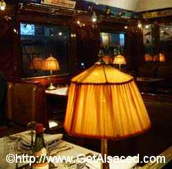 Inside a turn of the century luxury dining car at the Cité du Train train museum in Mulhouse in Alsace