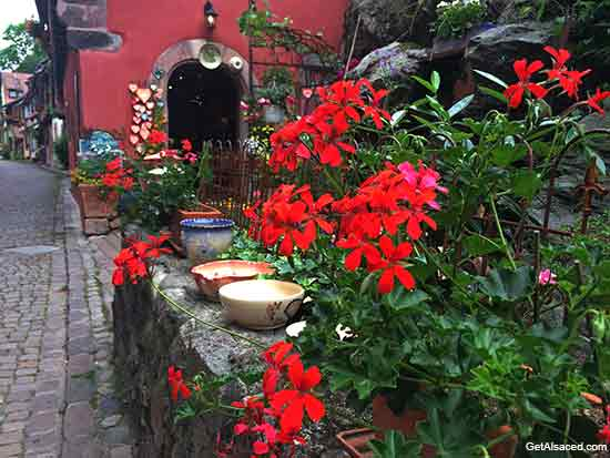 flower boxes in the Kaysersberg village in Alsace France