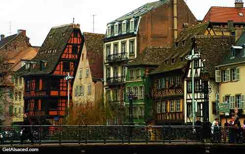 old buildings in historic center of Strasbourg in Alsace in France