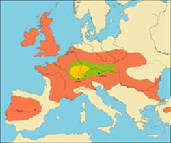 A map of Neolithic Celts in Europe