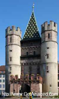 The main medieval city gate Spalentor in Basel Switzerland