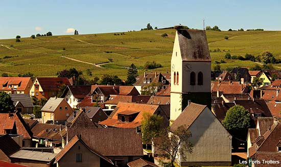 small village of Bennwihr on the Alsace wine road in France