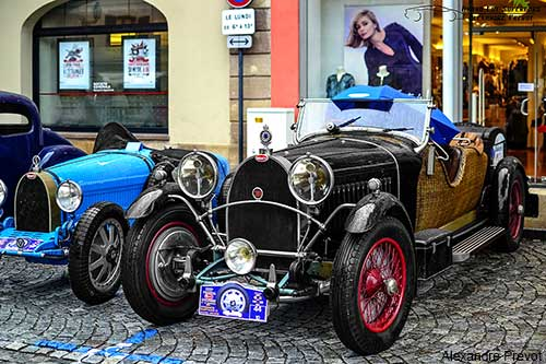 antique cars in the village of Molsheim in France