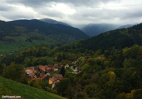village in the mountains in alsace france