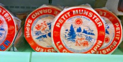 Munster Cheese from Alsace in a French Supermarket