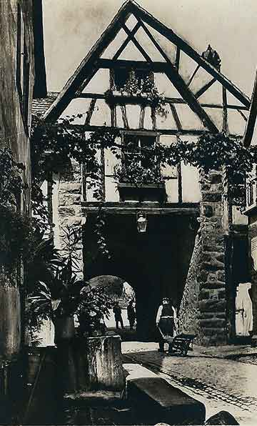 old photo of an Alsace village in France