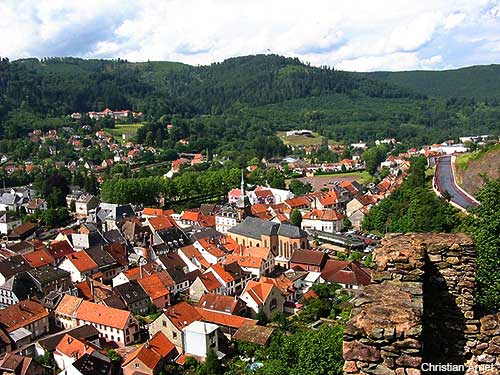 View of the Alsace village of Schirmeck in France