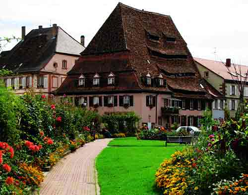 historic building in small town in alsace france