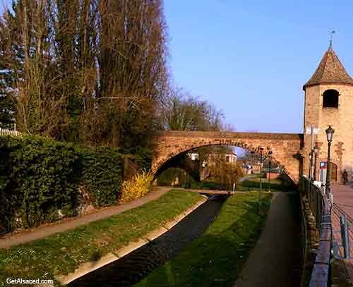 medieval gate and bridge in Alsace France