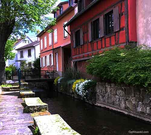 Scherwiller village on the Alsace wine route in France