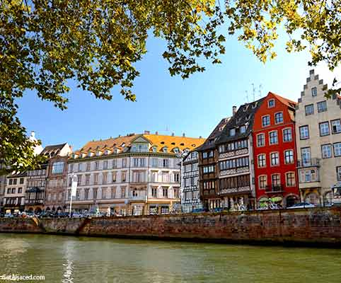 street with old buildings in strasbourg in alsace france