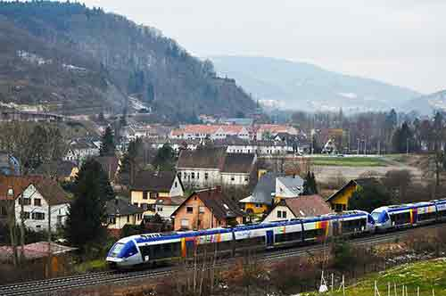 train running through alsace france