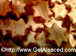 close up of zimtsterne christmas cookies in alsace